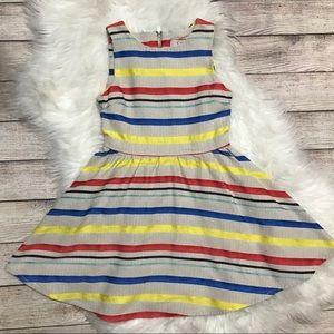 GB Girls Tan Striped Fit & Flare Dress Size 7
